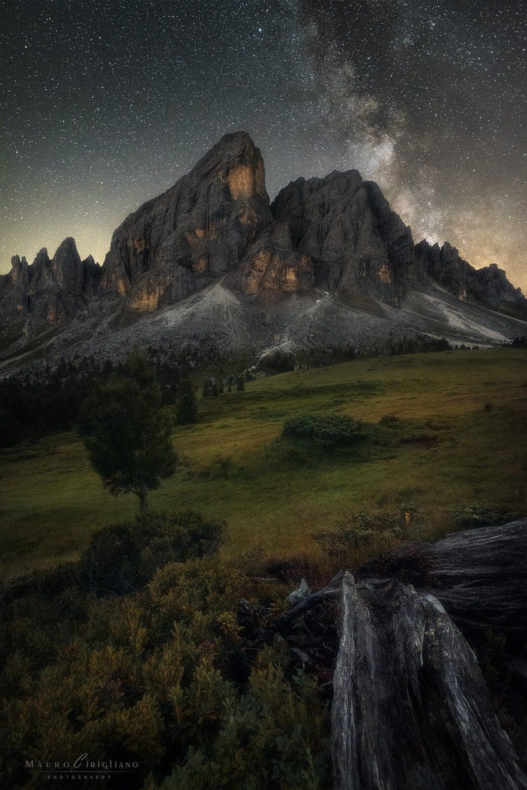 montagna passo delle erbe sotto cielo stellato e tronco secco in primo piano