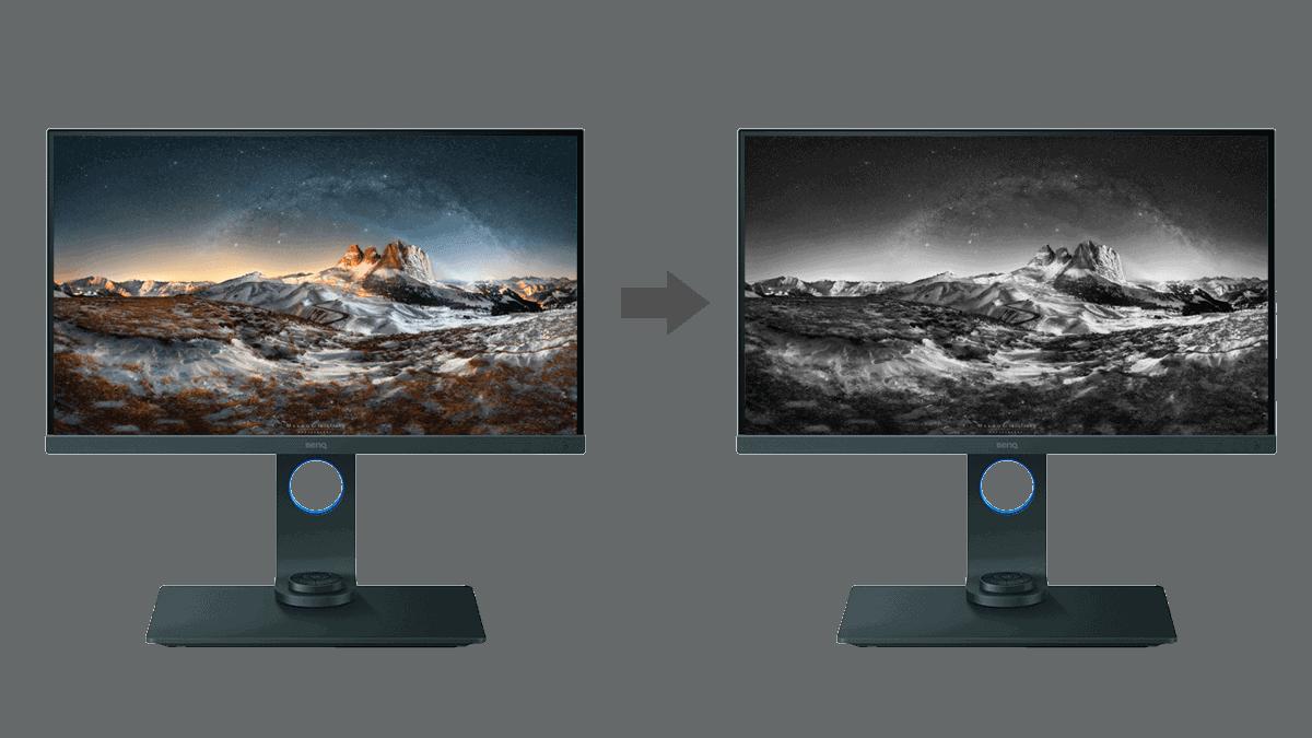 due monitor che mostrano versione a colori e bianco nero