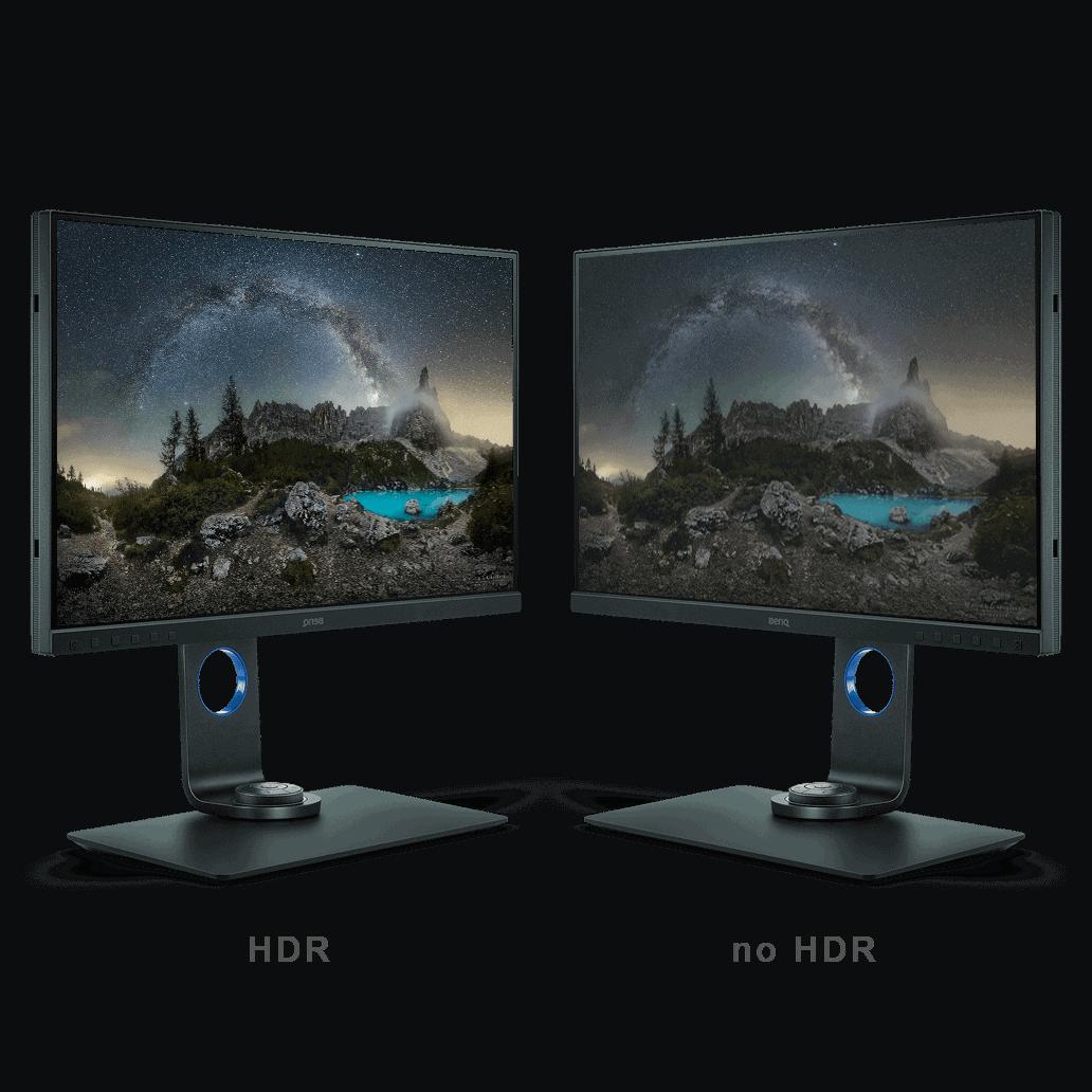 due monitor che mostrano la tecnologia hdr