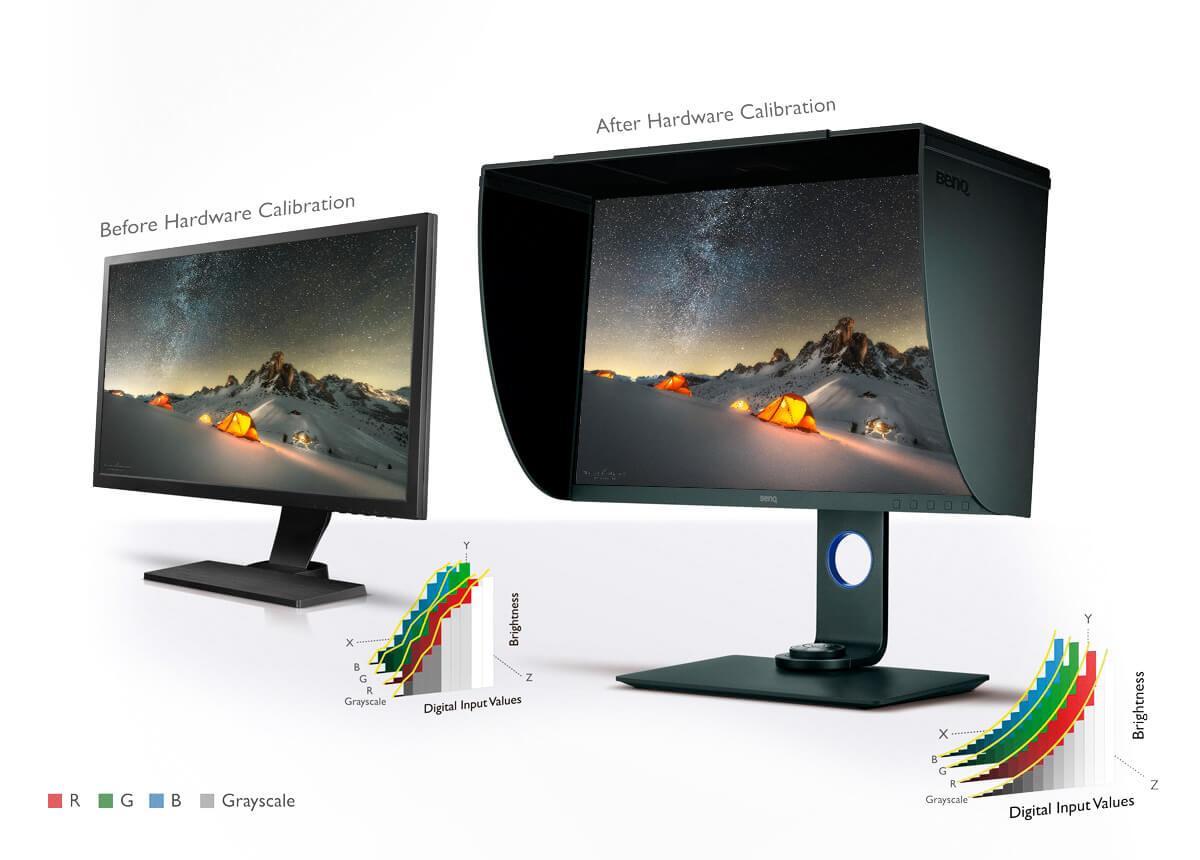 due monitor affiancati che mostrano differenze di calibrazione