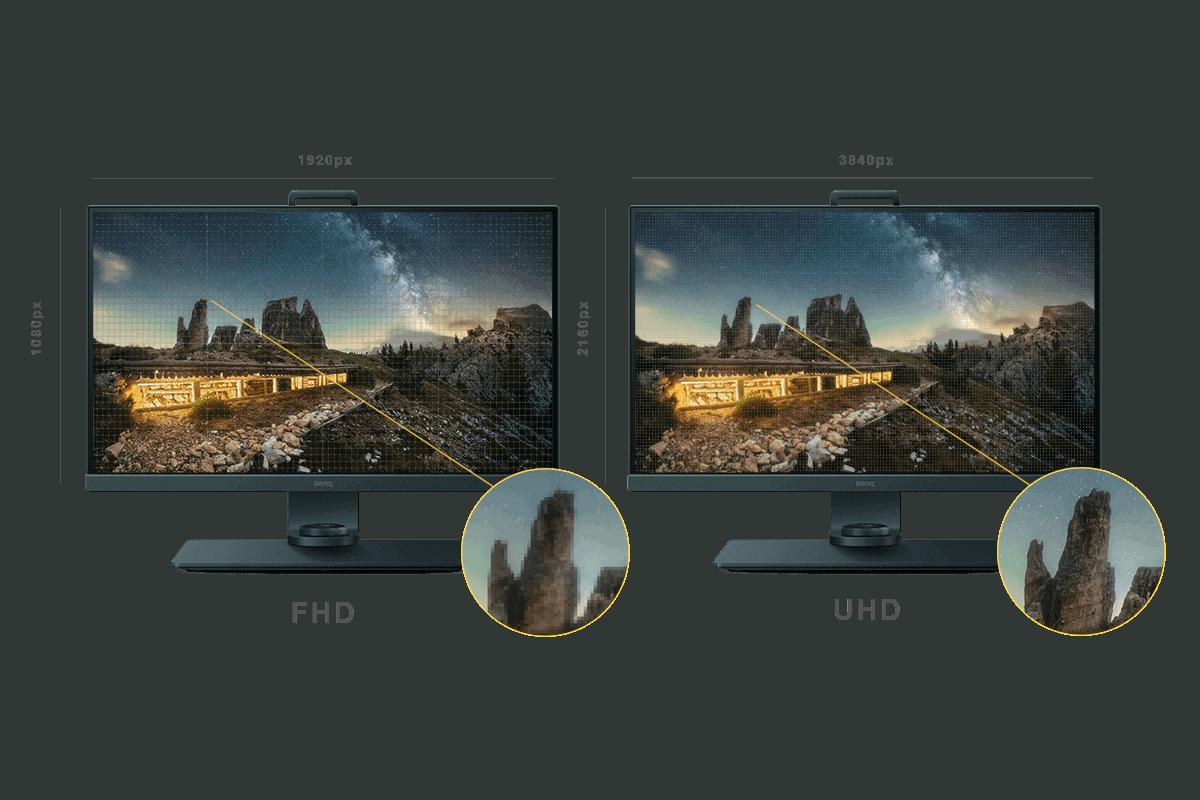 due monitor a confronto che mostrano differenze di risoluzione