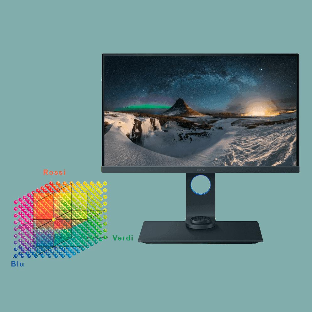 monitor che mostra a resa cromatica
