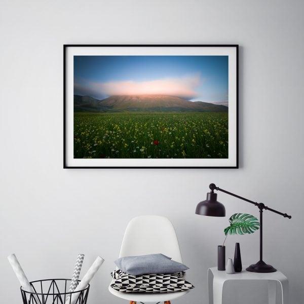 sunset print norcia castelluccio