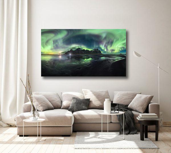 vestrahorn iceland aurora